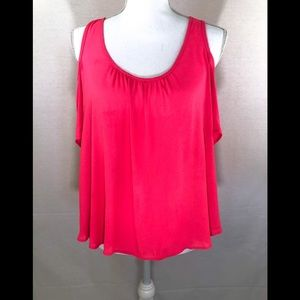 ❤️ 3/20 Lush Pink cold shoulder chiffon top